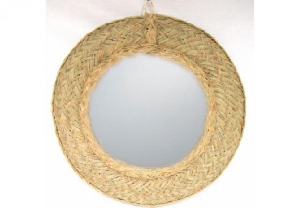 Espejo de esparto redondo decoraci n la cester a cester a mimbrer a mobiliario de mimbre - Espejos de mimbre ...