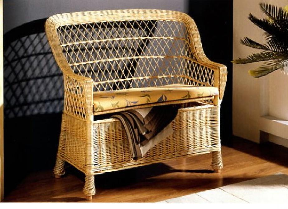 Banco baul mimbre mimbre rattan la cester a cester a - Muebles de bambu y mimbre ...