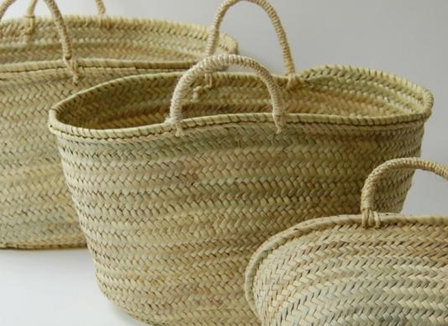 Capazo asa natural bolsos la cester a cester a - Cestos de palma ...