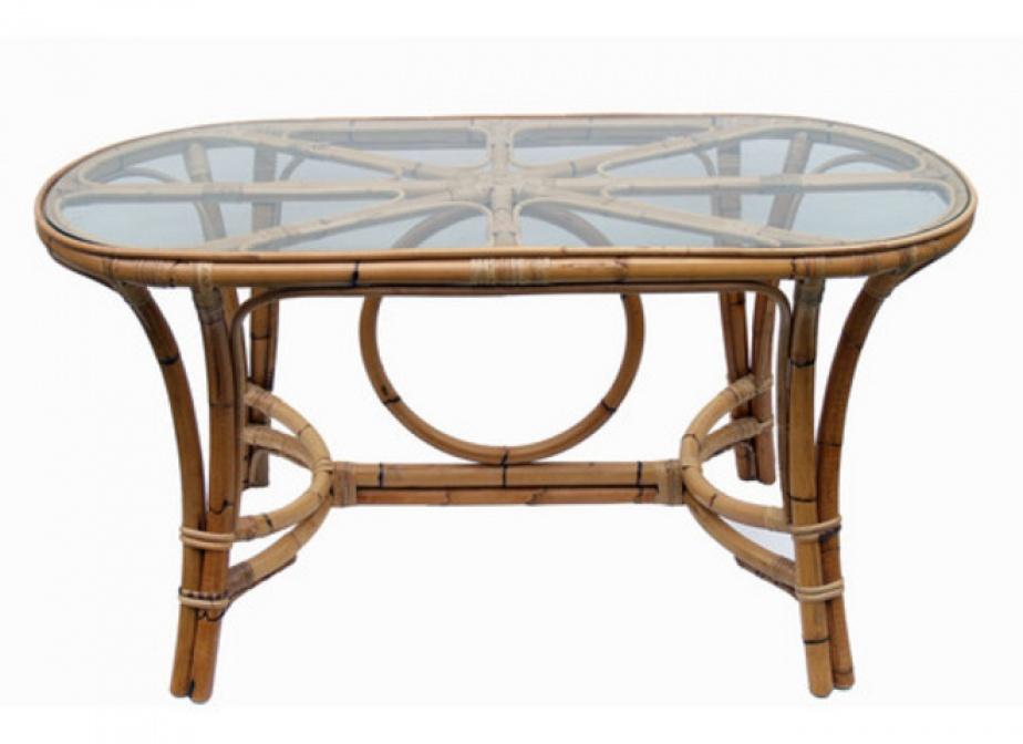 Mesa bambu ovalada mimbre rattan la cester a cester a - Mesas de mimbre ...